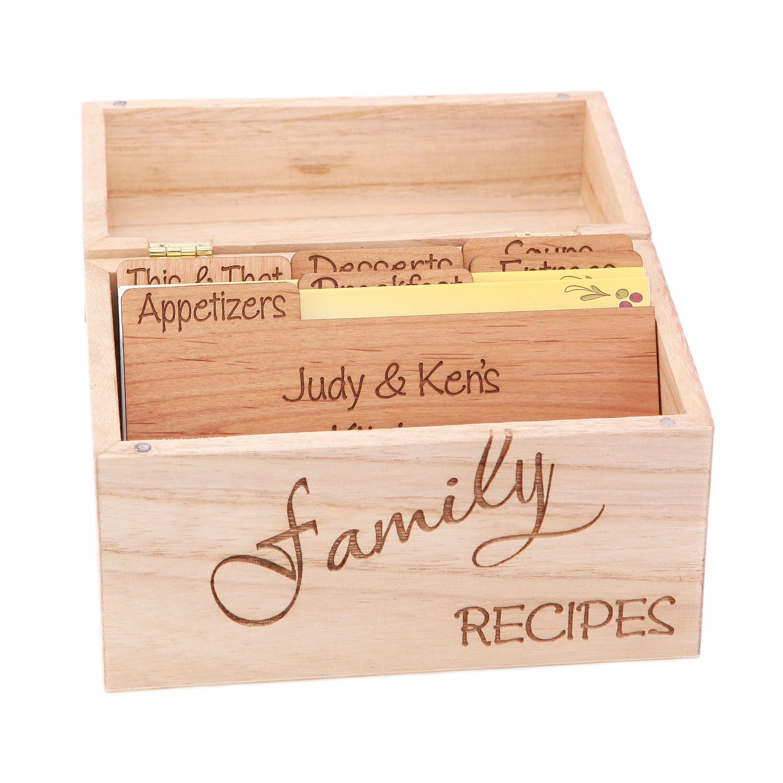 LGU(TM) Monogrammed Personalized Custom Family Recipe Box Wood Box with Recipe Card Dividers