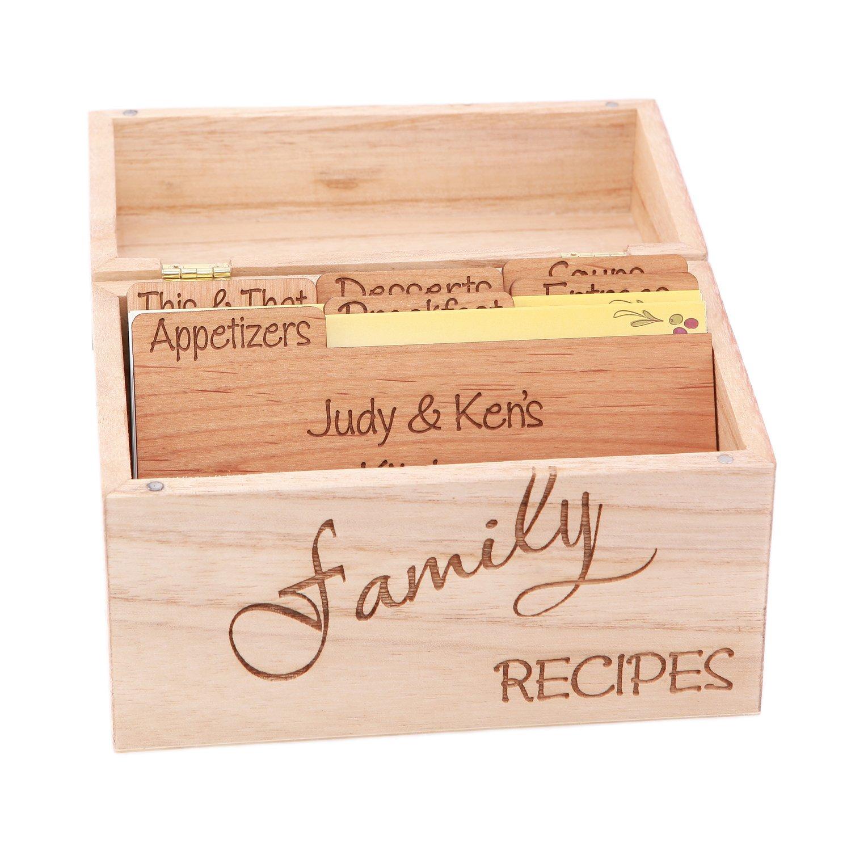 LGU(TM) Monogrammed Personalized Custom Family Recipe Box Wood Box with Recipe Card Dividers by Lgu