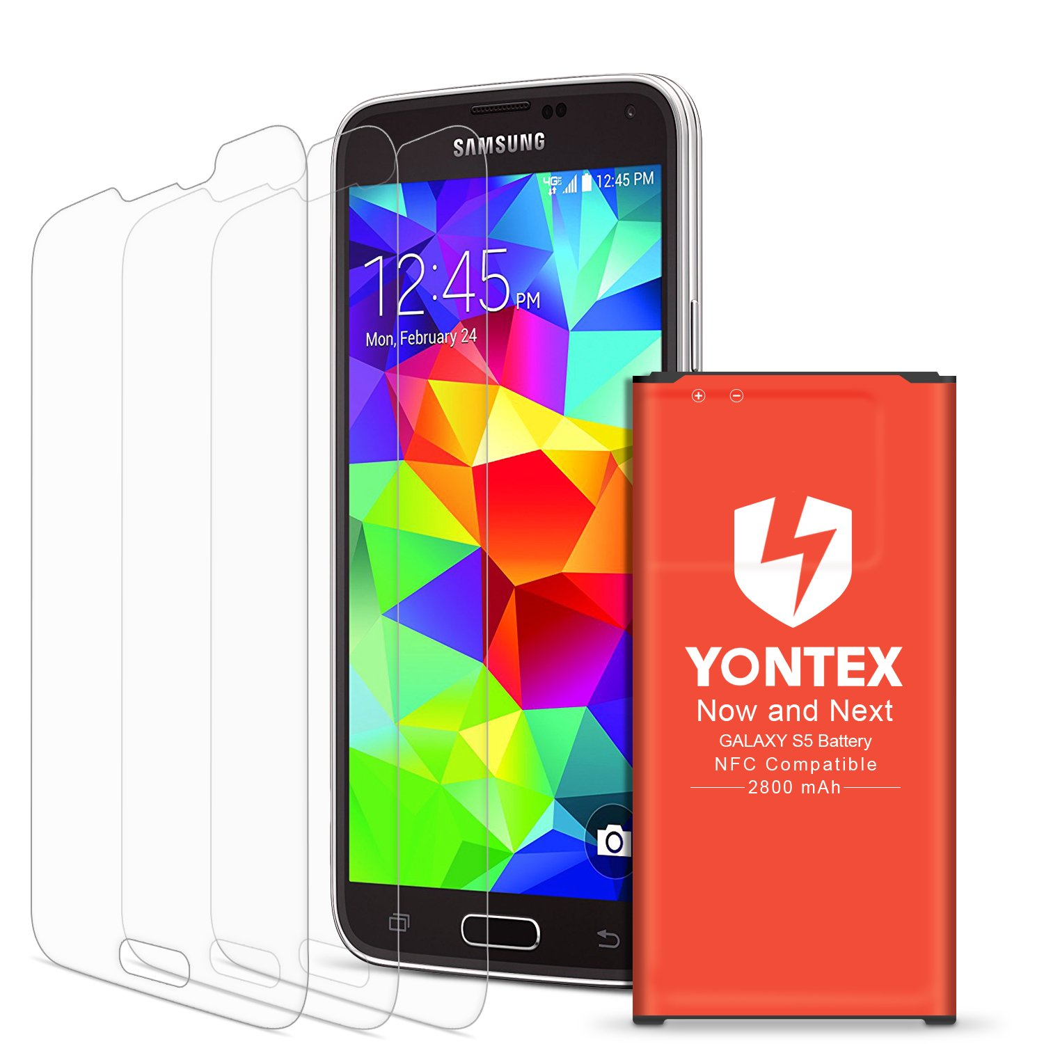 [NFC/Google Wallet Capable] Galaxy S5 Battery, YONTEX 2800mAh Replacement Battery for Samsung Galaxy S5 and S5 Active  [I9600, G870A, G900V, G900A, G900T and G900P] with 3 Pack Screen Protector