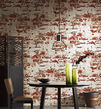 2025 Worn Plaster Brick Wallpaper Rolls Red Whitewash Stucco Brick Wallpaper Bedroom Living Room Bar Wall Decoration 393 7in 20 9in