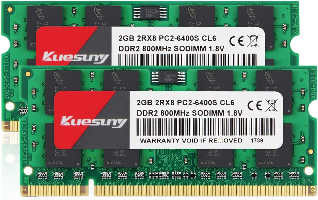 4GB Kit (2GBX2) DDR2 800 Sodimm RAM, Kuesuny PC2-6400/PC2-6400S 1.8V CL6 200 Pin Non-ECC Unbuffered Notebook Laptop Memory Modules