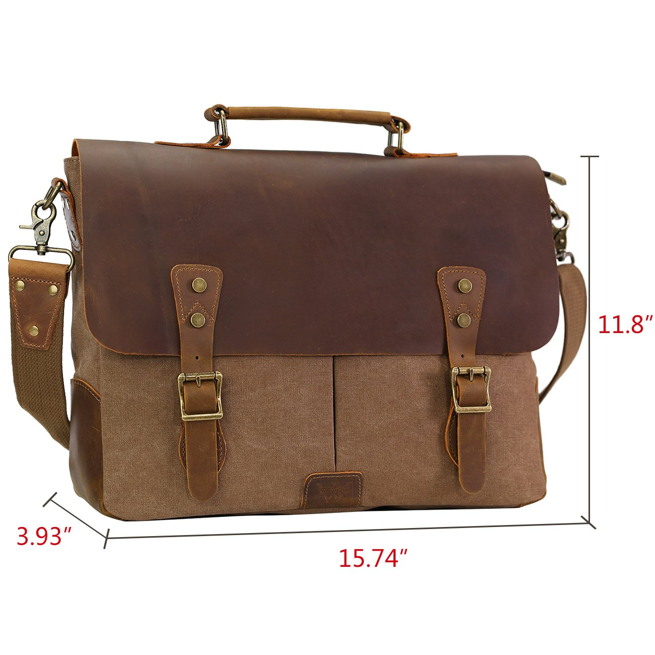 WOWBOX Messenger Bag for Men 156 inch Vintage Leather and Canvas Men Satchel Shoulder Bag Business