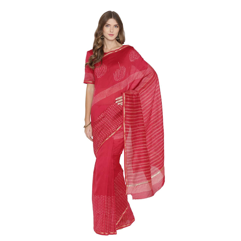 PinkShink Red Hand Block Printed Chanderi Silk Saree with Blouse sar168