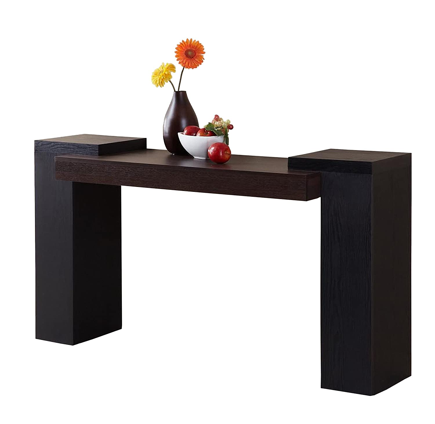 Furniture of America Enitial Lab Century Console Table, Dark Walnut and Black YNJ-ST2024-A1