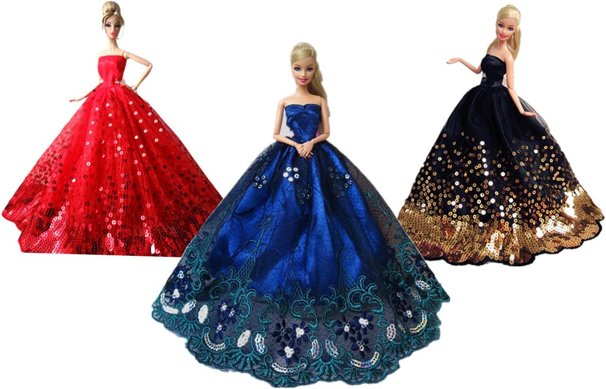 Handmade Princess Wedding Party Dress Clothes Gown For  Dolls Gift WFIT