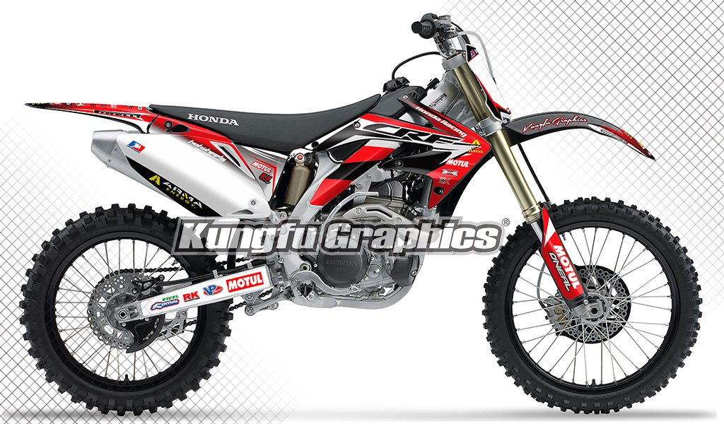 Kungfu Graphics Custom Decal Kit for Honda CRF450R 2005 2006, Red White