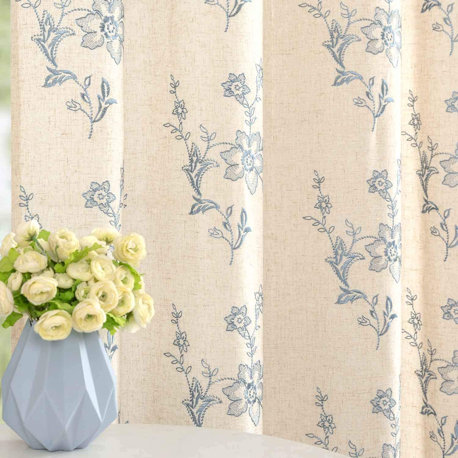 Blue Window Curtains Linen Like Ring Top for Living Room Bedroom Curtain with Floral Embroidered Design 2 Panels 84 inch
