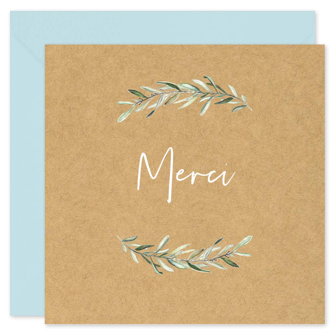 D/éc/ès Blanche Anniversaire avec 8 Enveloppes de couleur /• Format 14x14 cm /• Verso vierge pour /écrire /• Design Champ/être Kraft /• Popcarte 8 Cartes Remerciement Mariage