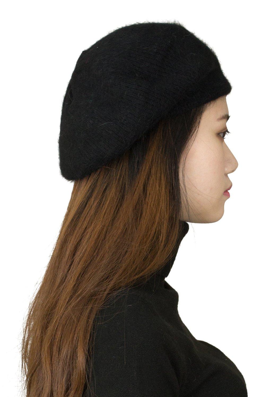 CapHouse Fine Ribbed Womens Angora Knit Winter Beanie Hat,Black