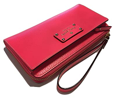 the best attitude fcc58 7548a Kate Spade Layton Wellesley Hot Rose Leather Tech Wallet Clutch WLRU1779