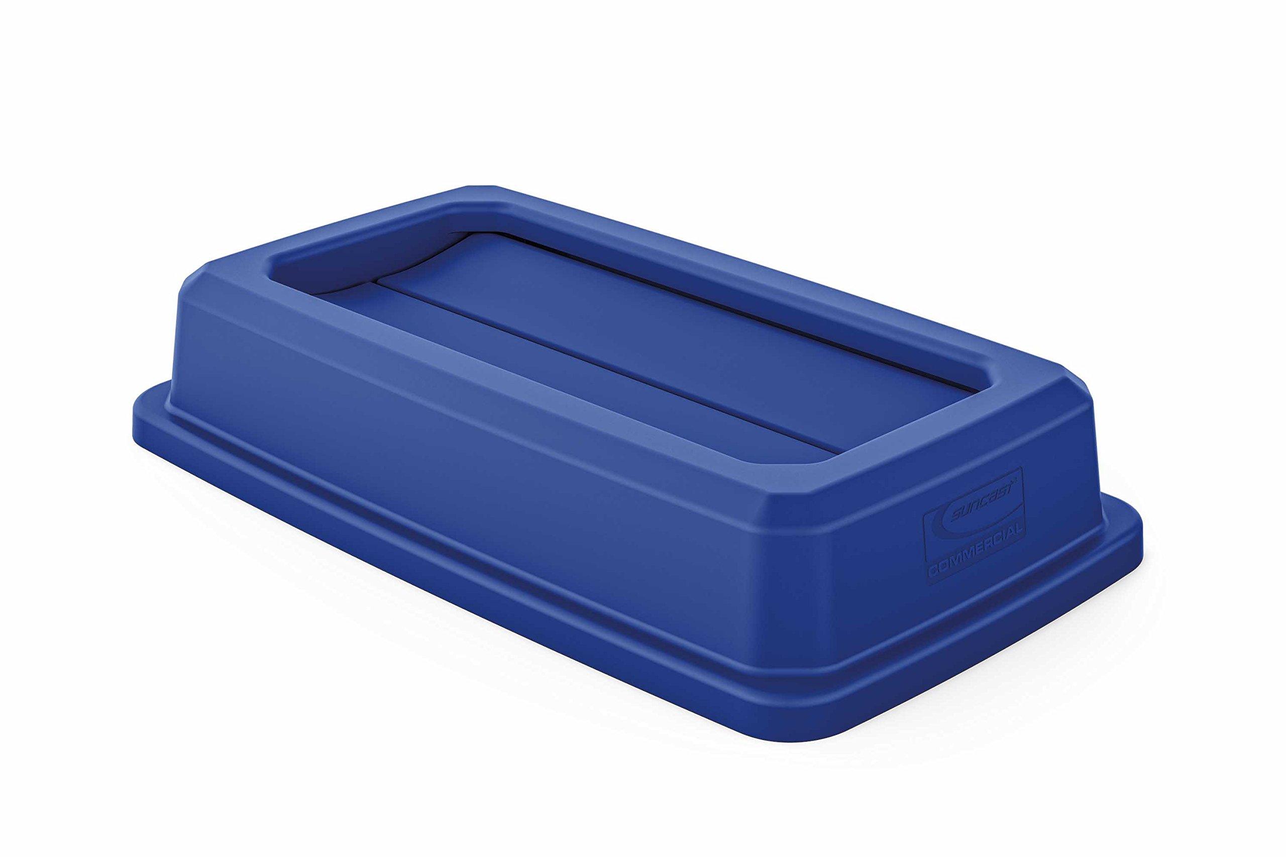 Suncast Commercial TCNLID01BL Slim Trash Can, Double Flip Lid, Blue