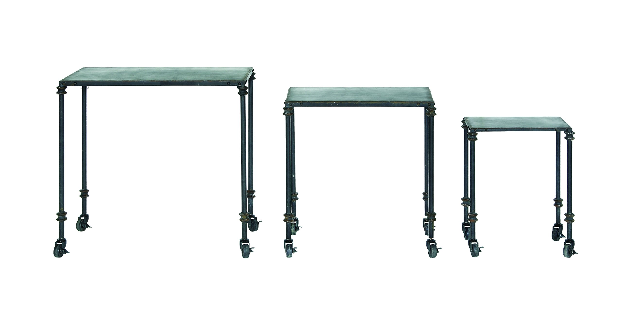 Creative Co-op Black Metal Nesting Table Set with Casters, Silver by Creative Co-op