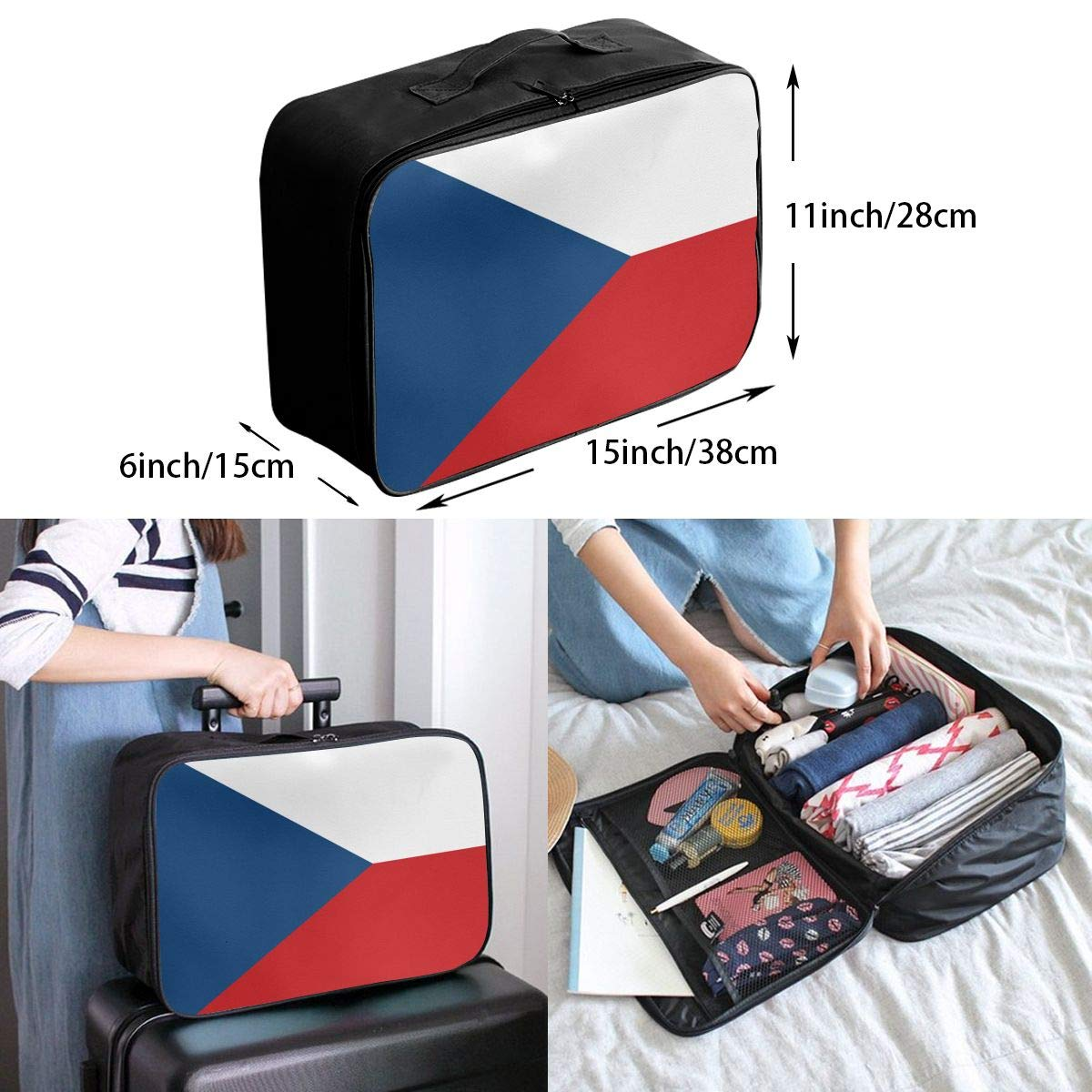 YueLJB Czech Republic Flag Lightweight Large Capacity Portable Luggage Bag Travel Duffel Bag Storage Carry Luggage Duffle Tote Bag
