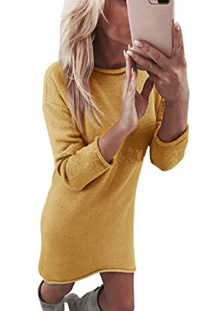 Yidarton Winter Damen Pullover Sweater Strickkleid Warm Elegant Langarm  Strickpullover Lang  Amazon.de  Bekleidung 0bf8a946d5