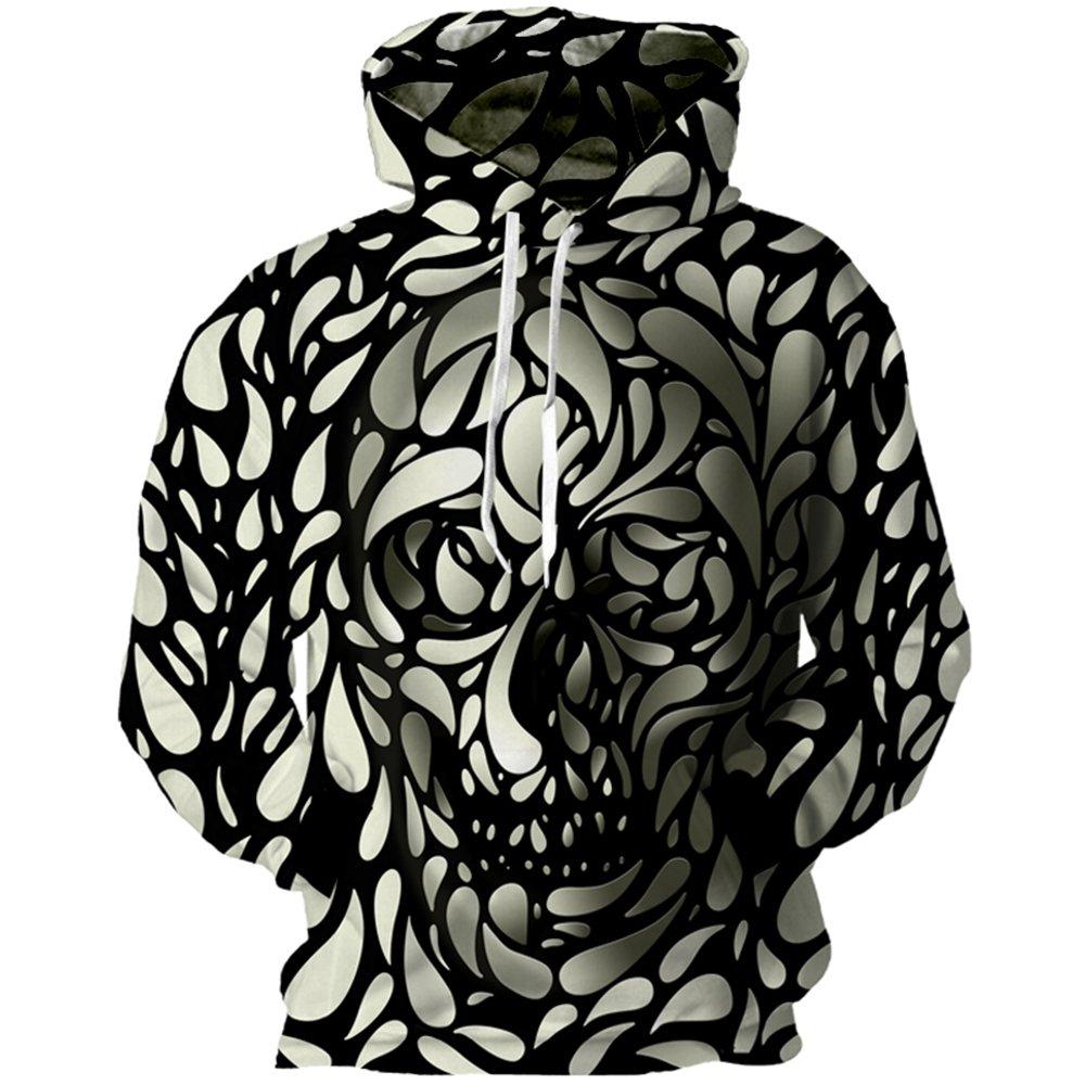YUNCLOS Unisex Realistic 3D Printed Skull Hoodie Sweatshirts Funny Pullover Short Sleeve Shirt Blouse