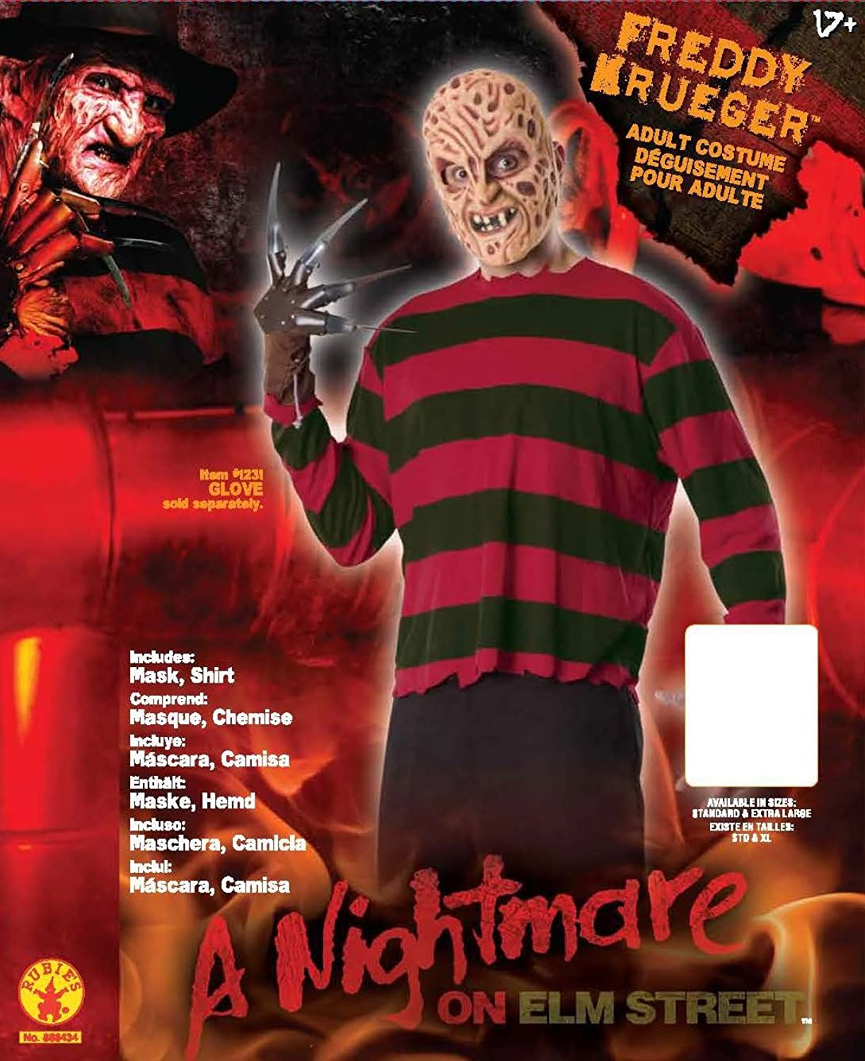 Mens A Nightmare On Elm Street: Freddy Krueger Costume, As Shown, Standard: Clothing