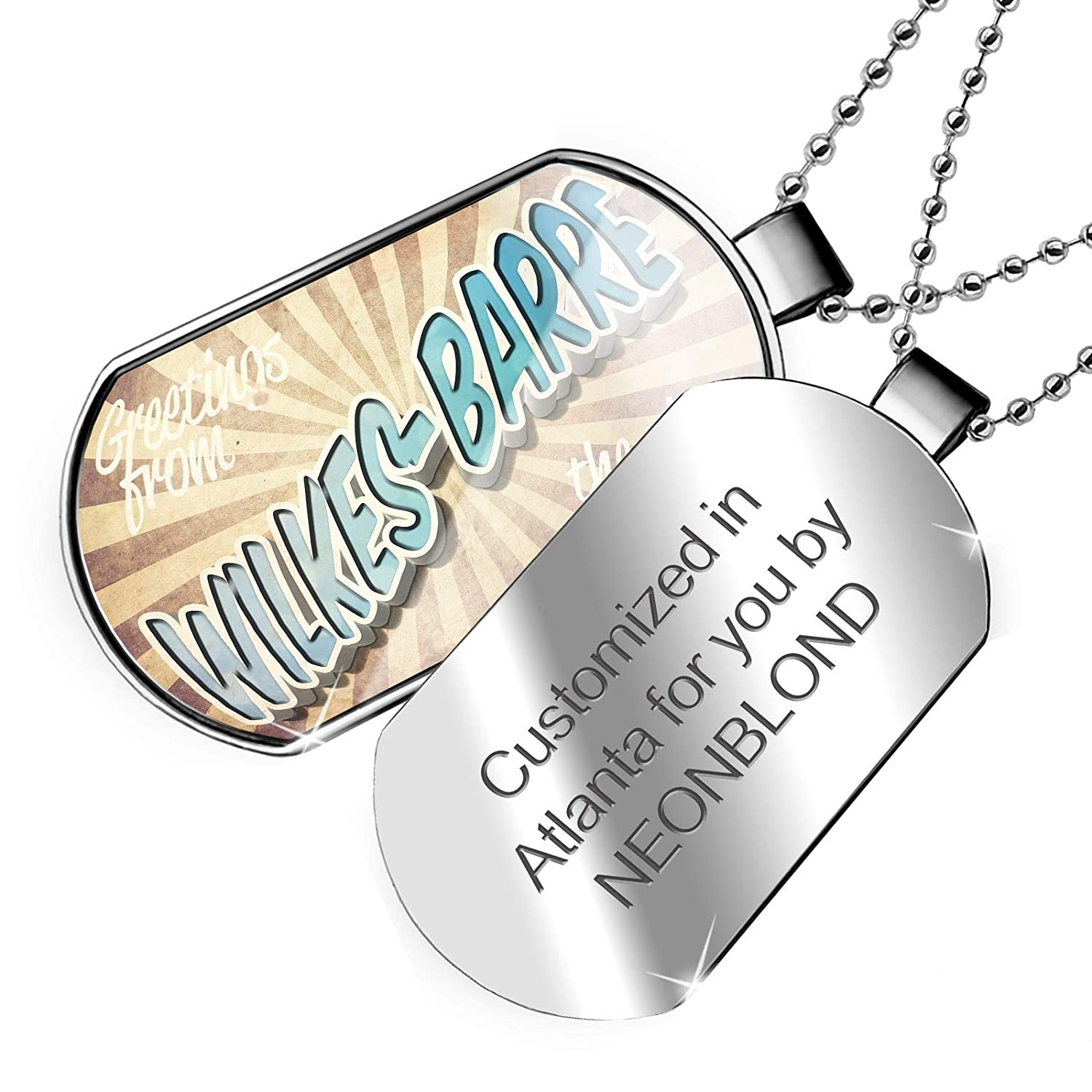 NEONBLOND Personalized Name Engraved Greetings from Wilkes-Barre Vintage Postcard Dogtag Necklace