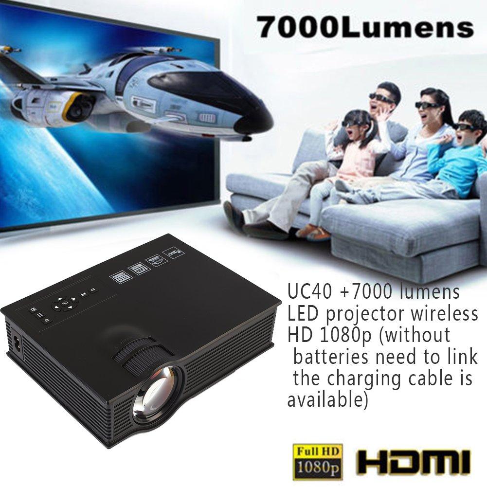 Hanbaili (White + UK Plug) Proyector de video UC40 Mini LED, 7000 ...