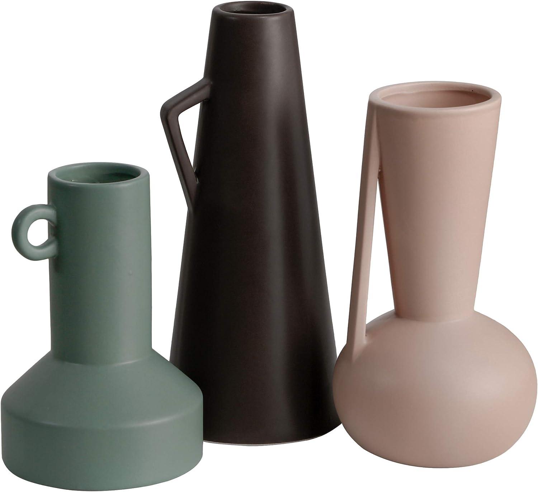 TERESA'S COLLECTIONS Decorative Ceramic Vase Set with Morandi Colors Art Geometry Modern Flower Vase for Living Room, Home Decoration (Set of 3)