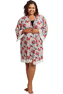 70e2252fe8110 PinkBlush Maternity Floral Lace Trim Plus Size Delivery/Nursing Robe
