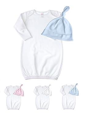 Amazon.com: Newborn Baby Cotton Sleeper Gown & Tie Knot Hat Set ...