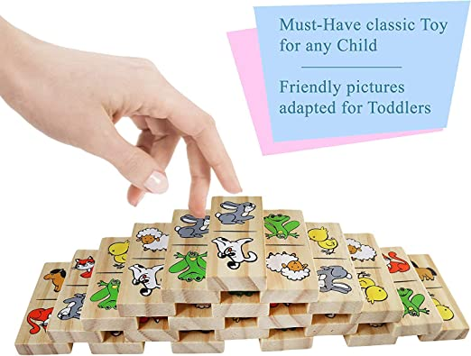 Kids Wooden Farm Classic Dominoes Traditional Game 28pk