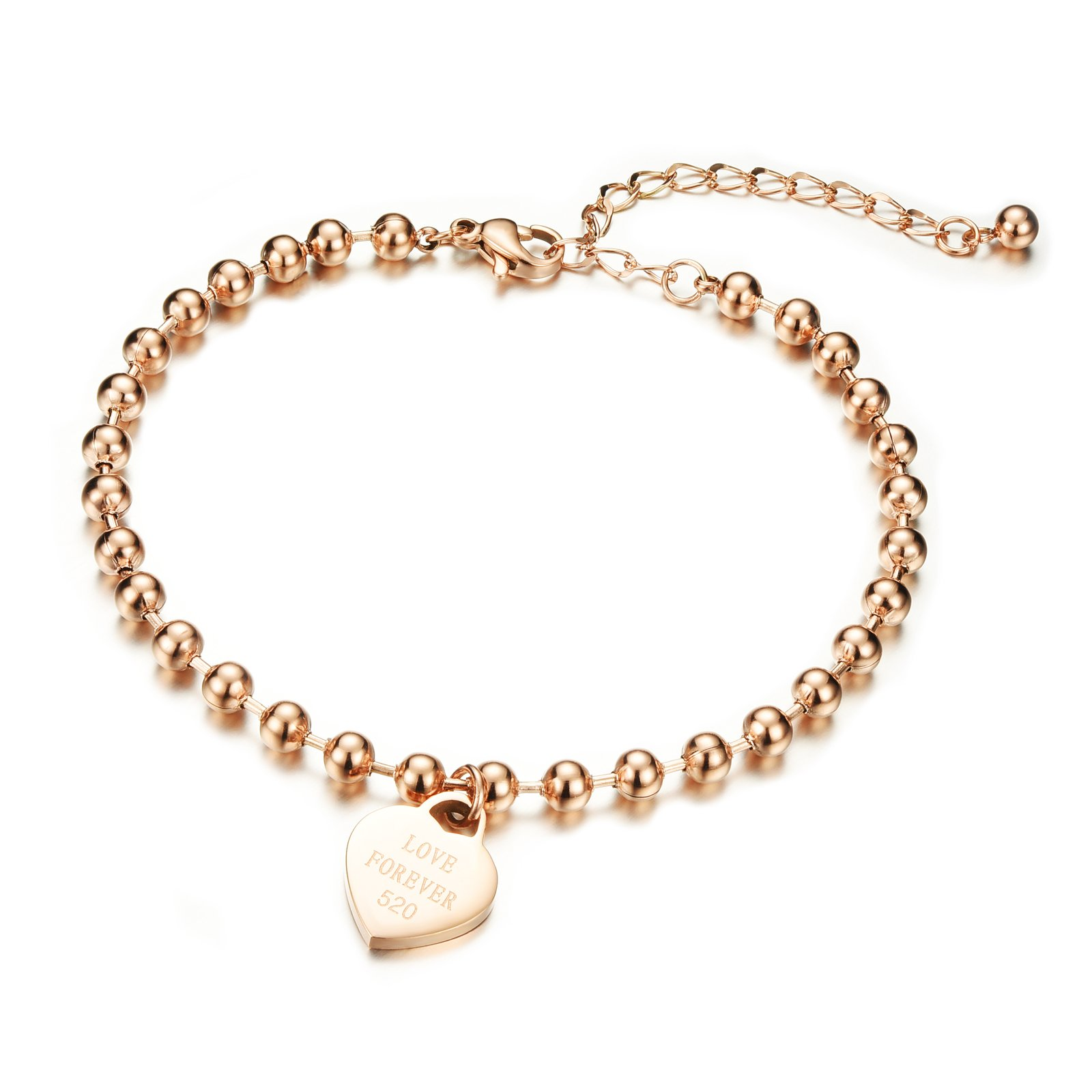 Fashion Jewelry Titanium Steel Rose Gold Bead Chain Heart Charm Anklets for Womens L7.8+0.23''
