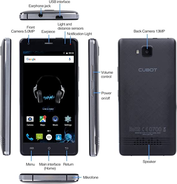 CUBOT Echo - Música Smartphone Libre 3G Android 6.0 (Pantalla ...