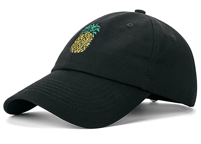 5bf36f5008db1 Amazon.com  IZUS Pineapple Baseball Cap Unconstructed Dad Hat (Black ...