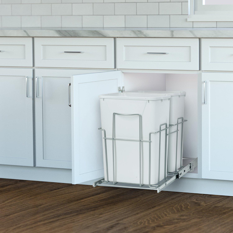 Panacea Grayline Double Trash Can Slide Out Basket Storage, Satin Nickel