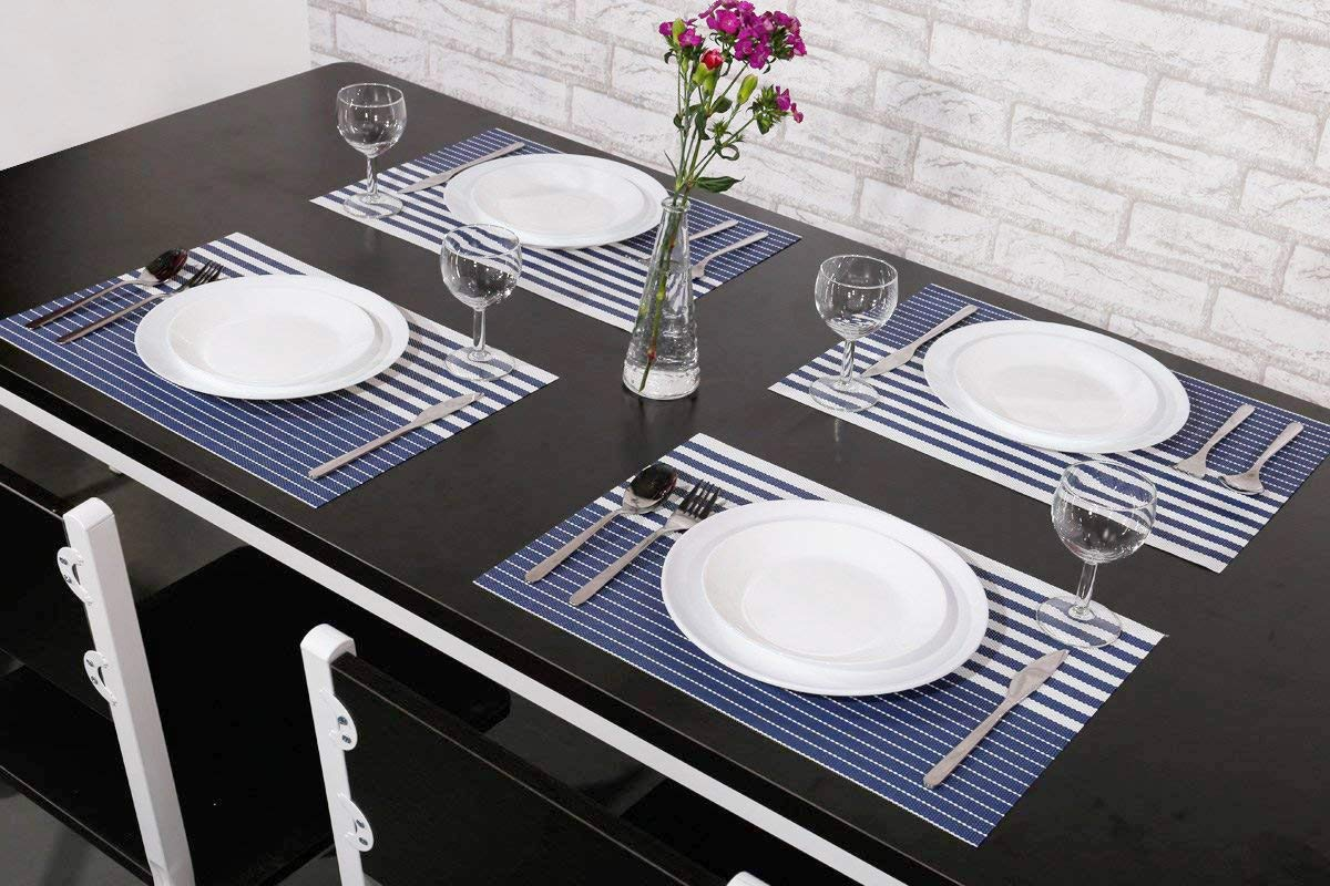 NJCharms Placemats Set of 4, Heat Resistant Washable Nautical Blue Placemats for Dining Kitchen Table Environmental PVC Wipeable Crossweave Vinyl Woven Placemats Table Mats Easy to Clean, Navy Blue by NJCharms (Image #3)