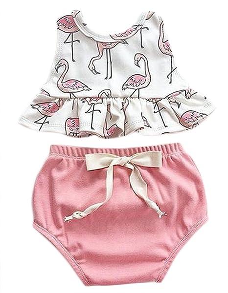 1788b66b97ae Baby Girls Cute Cartoon Print Vest Tops and Bowknot Shorts Bottom Outfits  Set