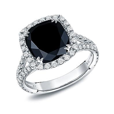 18k White Gold Cushion Cut Black Diamond Halo Engagement Ring 3 1 3