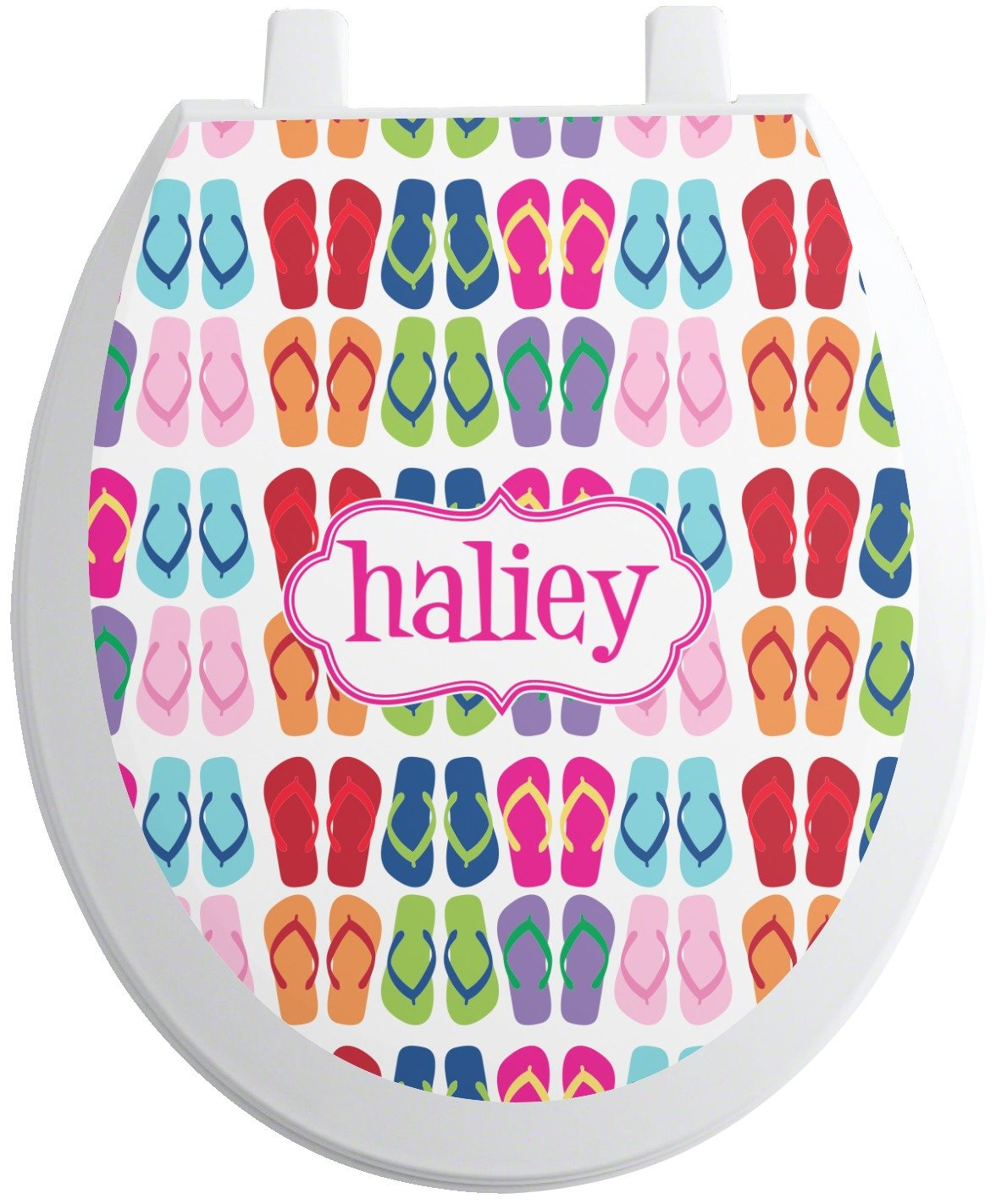 cheap FlipFlop Toilet Seat Decal - Round (Personalized)