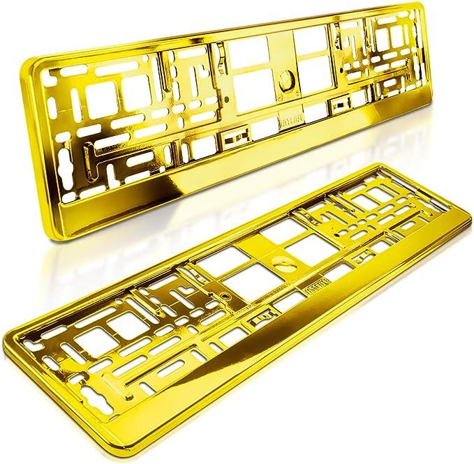 Schildevo 2 Kennzeichenhalter Gelb Gold Metallic Hochglanz Chrom Look Nummernschildhalter Kennzeichen Halterung Dhl Versand Auto