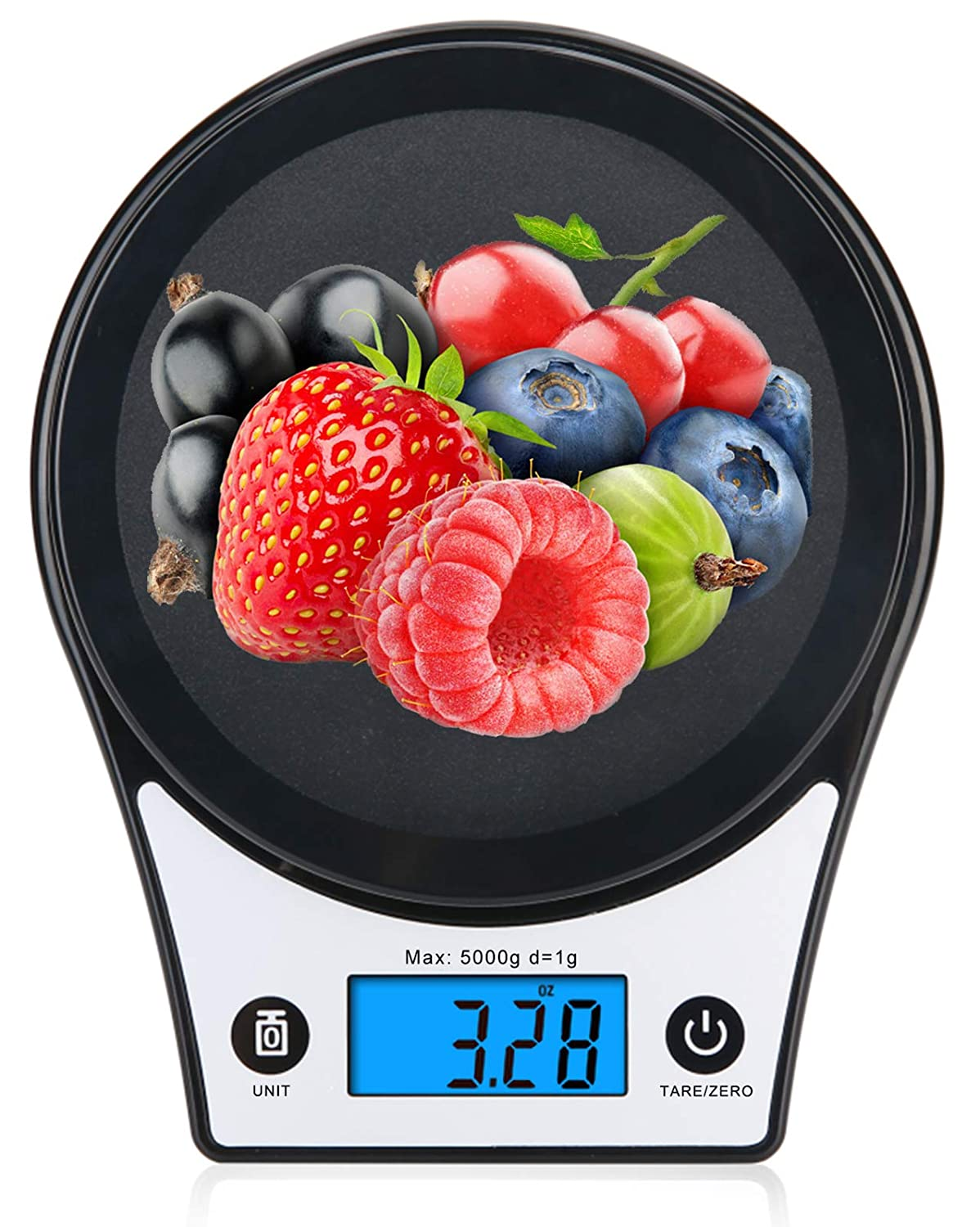 Ataller Digital Kitchen Scale, Multifunction Kitchen Food Scale with Tare Zero & Auto Off & Overlod & LCD Display for Baking and Cooking, 5kg/11lb