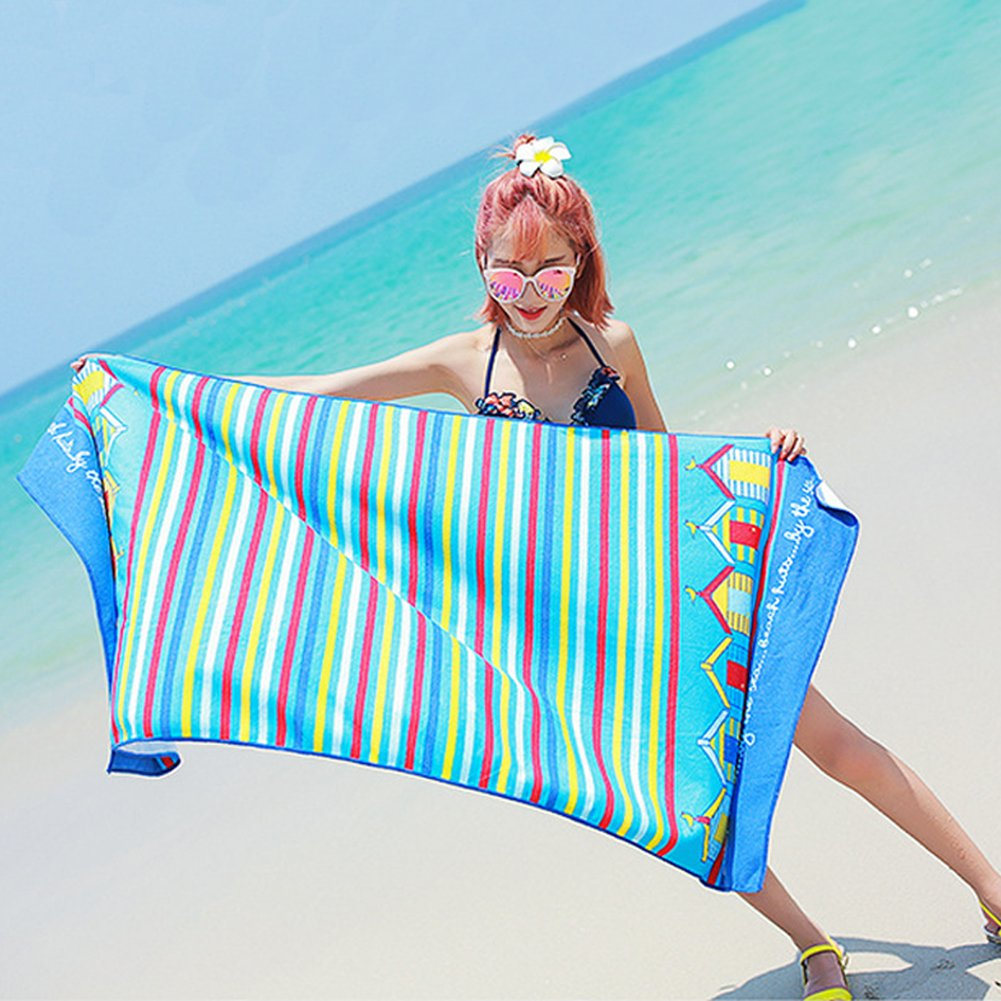 Microfiber Beach Bath Travel Towel-Soo Angelers(2018 Lightweight and Quick Dry for Travel Pool Yoga Sports Large Size Gift for Kids&Adult(Blue) by Soo Angeles (Image #7)