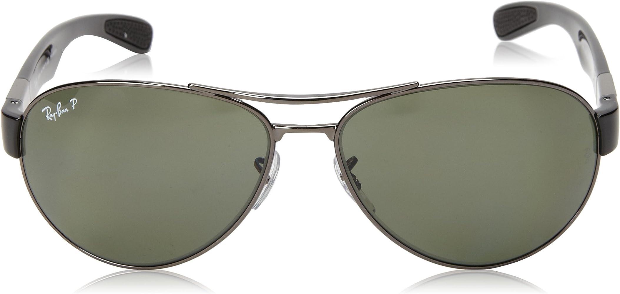Ray-Ban Wrap gafas de sol Aviator Gunmetal verde polarizado RB3509 004/9A 63