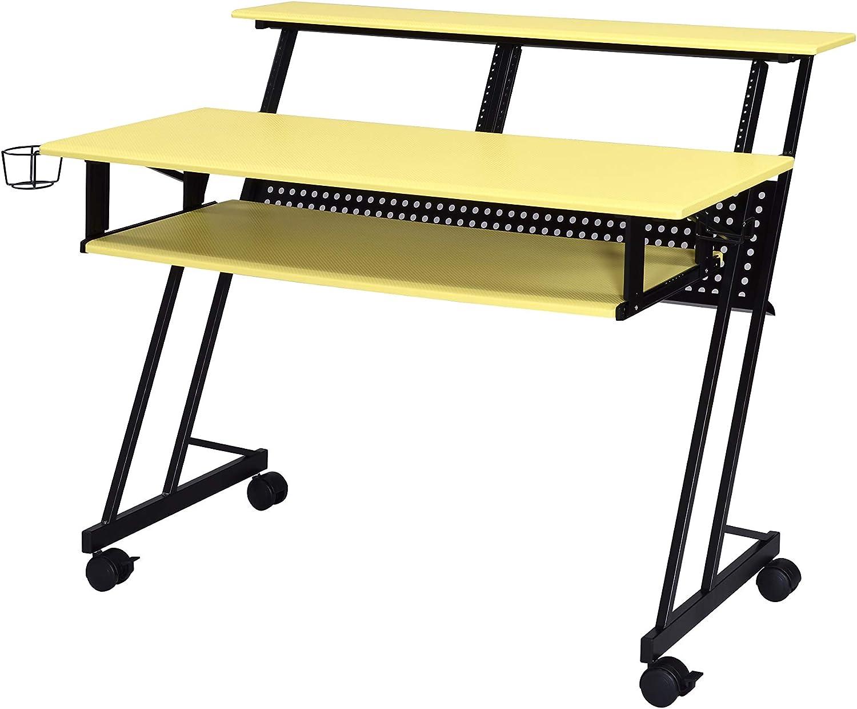 Acme Furniture Suitor Music Recording Studio Desk, Yellow & Black
