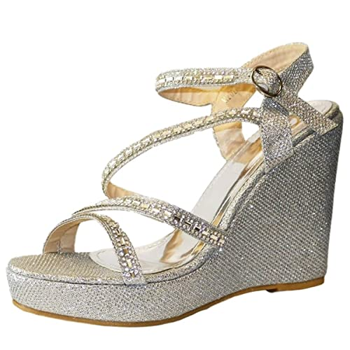 fa3a04b3b73d9 ROCK ON STYLES NEW DIAMANTE SILVER ANKLE STRAP PLATFORM WEDGE MID HIGH HEEL  PARTY PROM EVENING