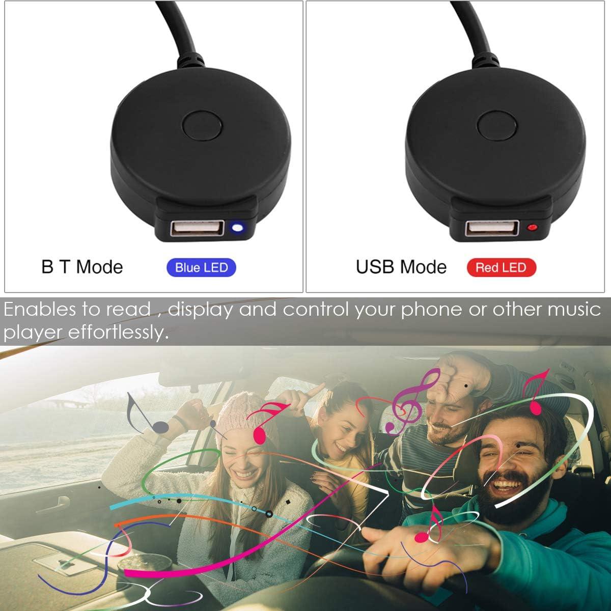 iFCOW Cable de Audio Auxiliar para Coche Ami Mdi Bluetooth Hembra Adaptador de Cable Usb para Au-Di