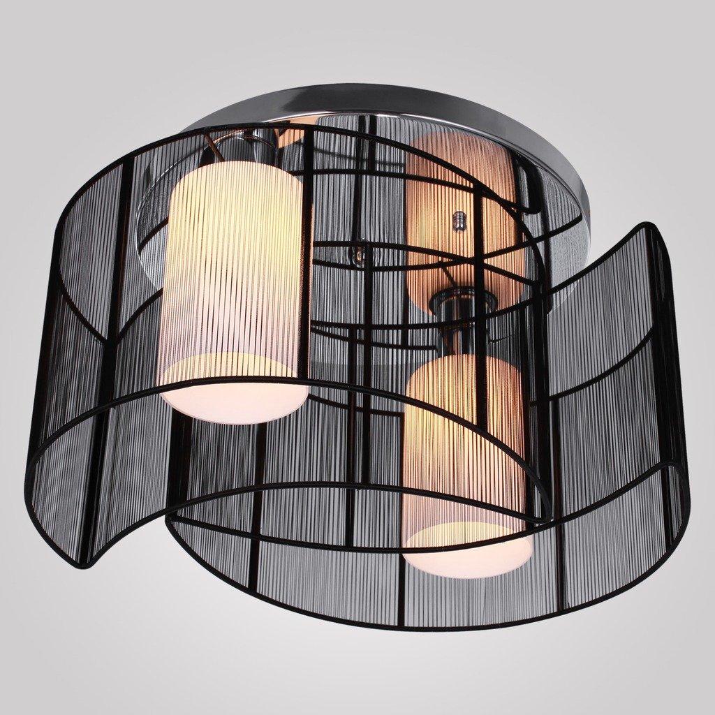 SaintMossiR Modern Unterputzmontage Wohnzimmer Deckenleuchte Schwarz Fabric Lampenschirm Innere Weiss Mattiertes Glas 2 X E27 Base Glhbirnen
