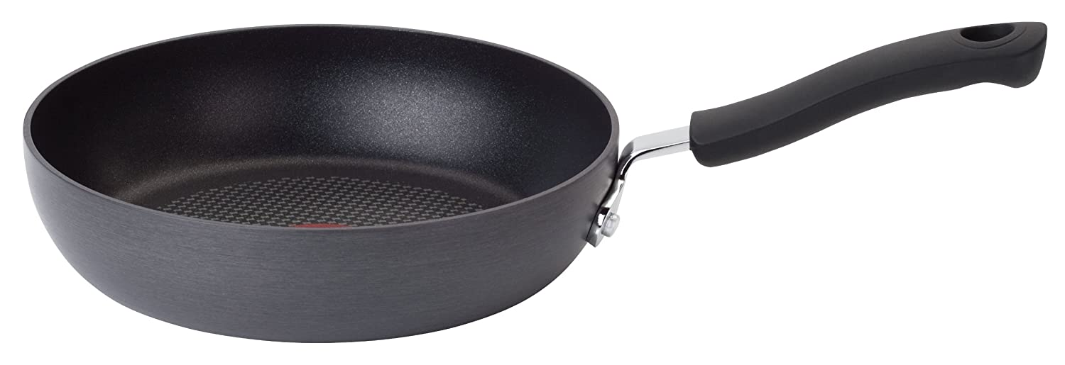T-fal E91802 Ultimate Hard Anodized Scratch Resistant Titanium Nonstick Thermo-Spot Heat Indicator Anti-Warp Base Dishwasher Safe Oven Safe PFOA Free Saute/Fry Pan Cookware, 8-Inch, Gray 2100093954