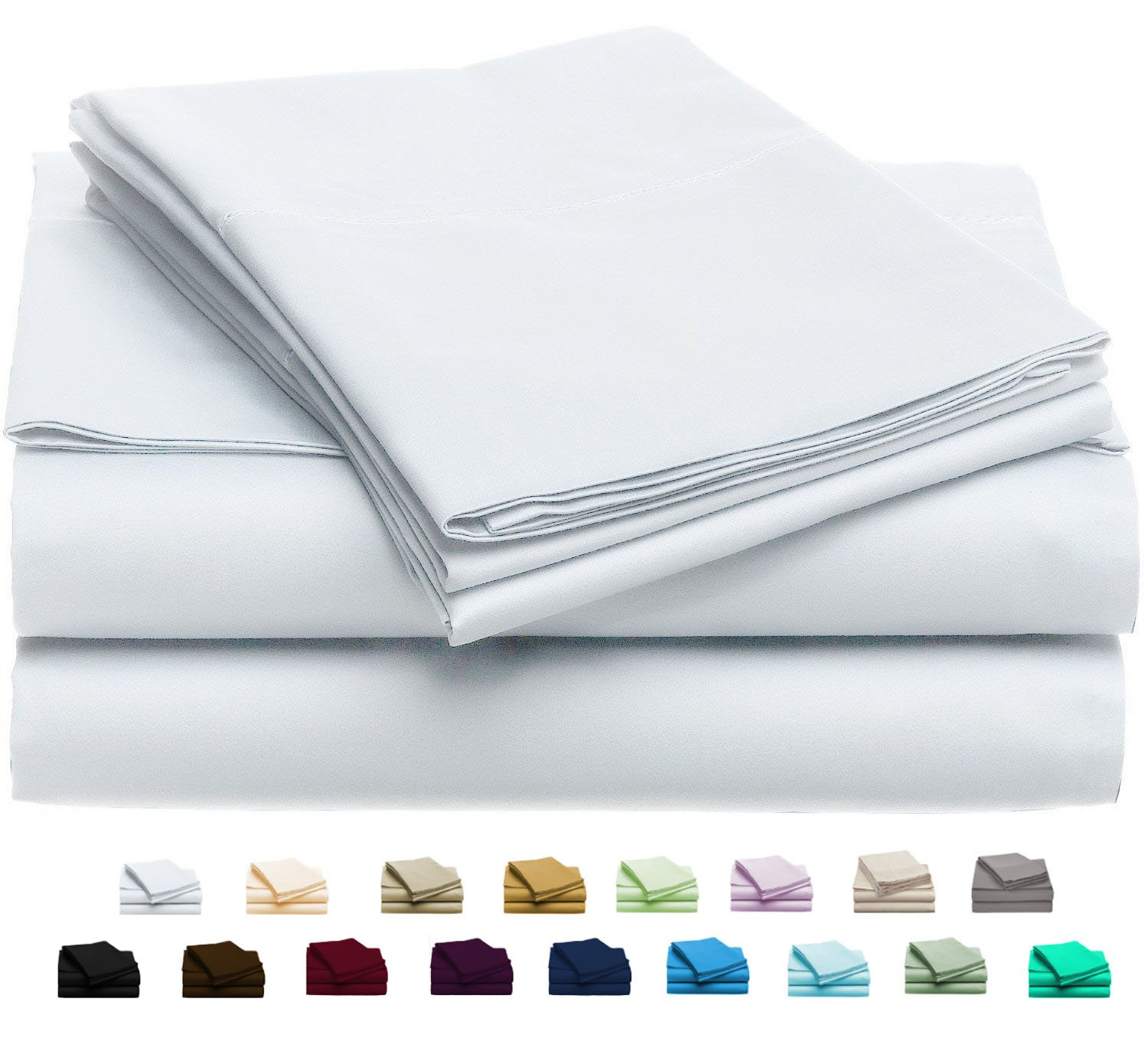 Luxury Home Super-Soft 1600 Series Double-Brushed 6 Pcs Bed Sheets Set (King, White) by Luxury Home (Image #1)