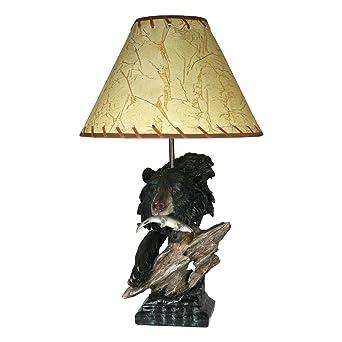 Superbe Riveru0027s Edge Bear In Tree Table Lamp 485