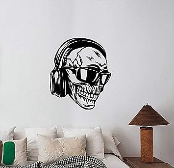 Eine Gute Aufkleber USA Hipster Totenkopf Kopfhörer Wand Aufkleber Evil DJ  Vinyl Aufkleber Sound Musical Lifestyle