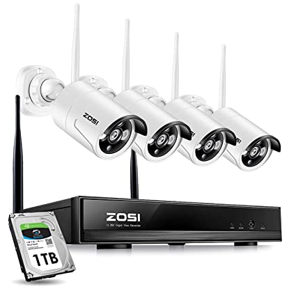 ZOSI Wireless CCTV Camera Systems 4CH 1080P Wireless Network Video Recorder  1TB Hard Drive 4pcs Outdoor Wireless IP Cameras,100ft Night Vision, Easy