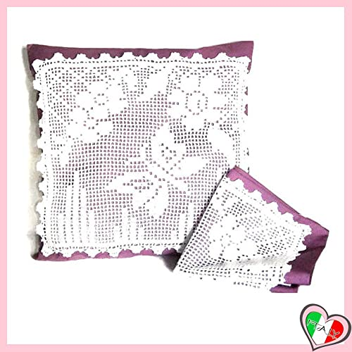 Set 2 Cover Lilla Per Cuscini Con Decorazione Bianca A Filet All