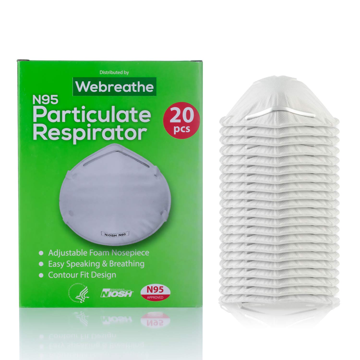 Disposable Dust Masks respirators for face - NIOSH Certified - Safety N95 Respirator Mask (20 pack) for Cleaning, Anti Pollution, Surgical operations & more by WeBreathe (Image #3)