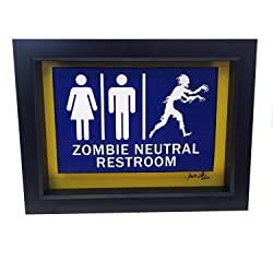 Image: Funny Bathroom Sign Zombie Art Horror Decor 3D Art